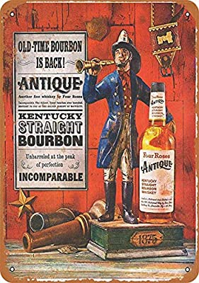"""Wodiy 8""""x12"""" Metal Sign Four Roses Kentucky Bourbon - Vintage Decorative Tin Sign"""
