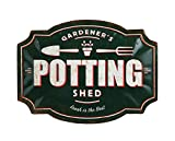 Creative Co-Op Gardener's Potting Shed Embossed Tin Décor Wall Decor, Green