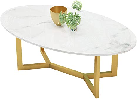 Y Leah Modern High Gloss Marble Coffee Table White Oval Dinner Office Home Oval Coffee Table Gloss White Living Room Furniture Amazon De Kuche Haushalt