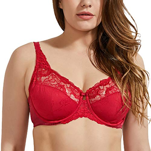 (DELIMIRA Women's Beauty Lace Non Padded Minimizer Full Figure Underwire Bra Dark Red 38D)