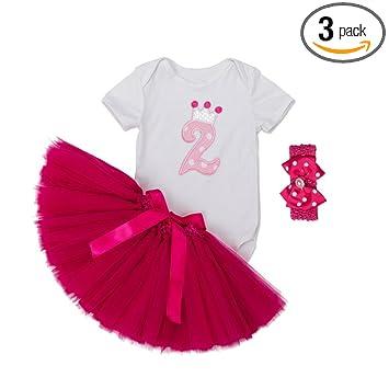 479680a305e41 ALLAIBB ベビー服 女の子 半袖 ロンパース チュチュスカート バラ色 ヘアバンド 3点セット 誕生日