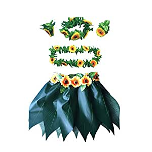 LITTLE FEATHER Hawaiian Ti Leaf Hula Skirt with sunflower lei costume Luau Party Accessory Kids Size