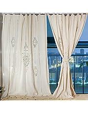 Aparty4u Duże lniane zasłony, Floral Cotton Crochet Tape, zasłony do sypialni, zaciemniające panele, 175 x 255 cm