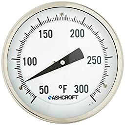 Ashcroft Series EI Stainless Steel Case Bimetal Thermometers with Stainless Steel Tag, 5\