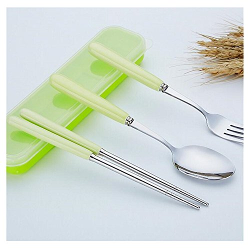 Gobuy Stainless Steel Fork Spoon Chopsticks 3 PCS Set Simple Flatware with Plastic Holder Easy for - Atlanta Shoppes Outlet