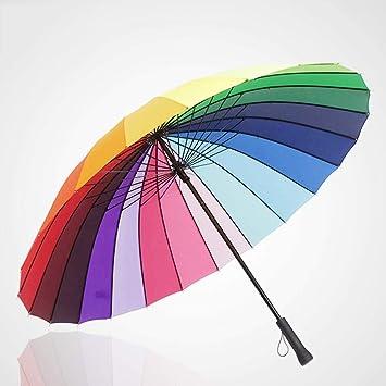HUAIX Home Paraguas Paraguas Recto Extragrande del Arco Iris ...