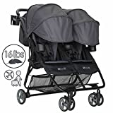 ZOE XL2 Deluxe Double Xtra Lightweight Twin Travel & Everyday Umbrella Stroller System (Noah Grey)