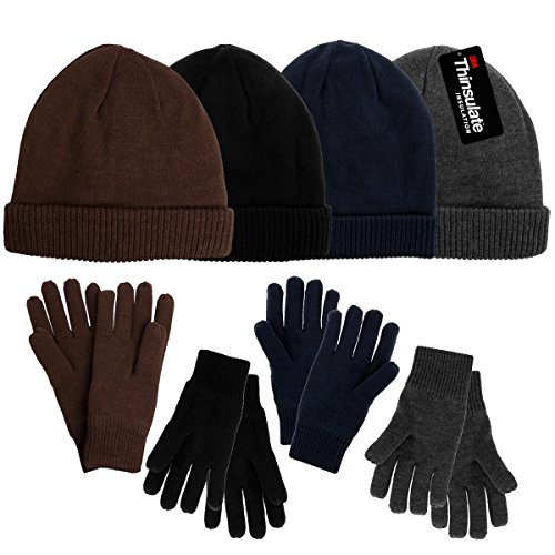 6dc737fc DG Hill Mens Winter Hat And Gloves Set with 3M Thinsulate fleece lining,  warm Knit winter ...