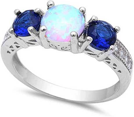 Lab Created White Opal w/ Simulated Blue Sapphire & Cubic Zirconia .925 Sterling Silver Ring Sizes 5-8