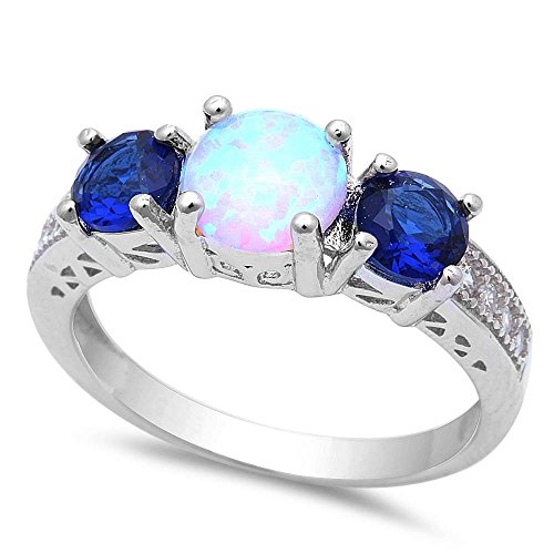 Oxford Diamond Co Lab Created White Opal w/Simulated Blue Sapphire & Cubic Zirconia .925 Sterling Silver Ring Sizes 8