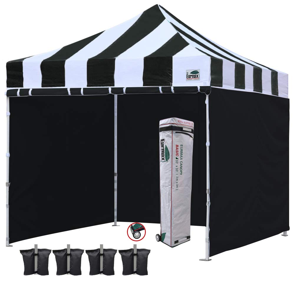 Eurmax 10'x10' Ez Pop-up Canopy Commercial Instant Tent with 4 Removable Zipper End Side Walls, A-1White
