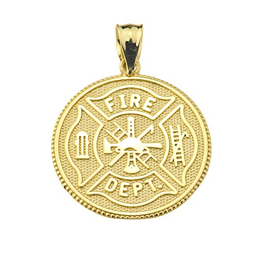 - American Heroes Solid 10k Yellow Gold US Firefighter Maltese Cross Pendant