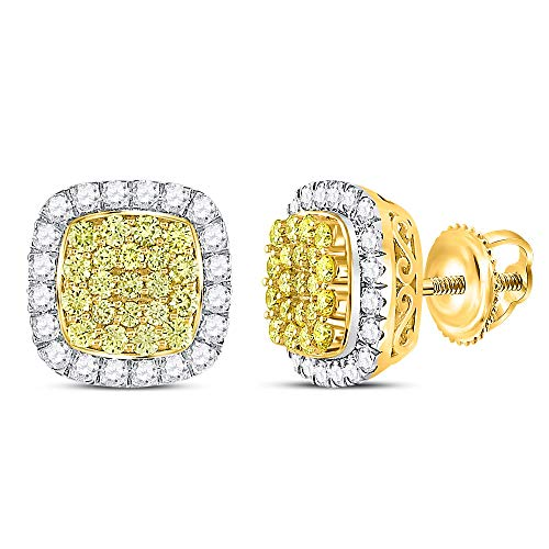 14kt Yellow Gold Womens Round Canary Yellow Diamond Square Frame Cluster Earrings 2.00 Cttw