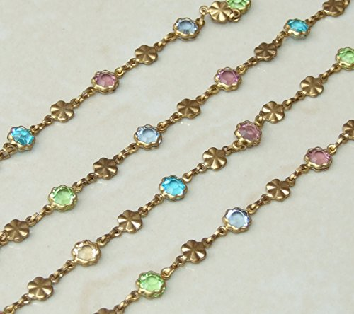 Multicolored Glass Faceted Bezeled Flower Bead Rosary Chain - Antique Brass - Wire Wrapped Rosary Chain - 6mm Bead - Sold by the Foot