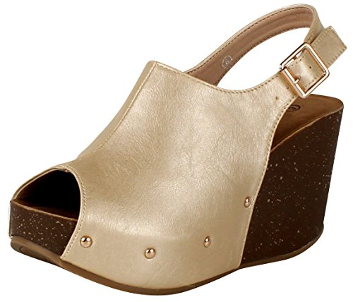 (Cambridge Select Women's Peep Toe Buckled Ankle Slingback Strap Chunky Platform Wedge Sandal (7 B(M) US, Champagne)