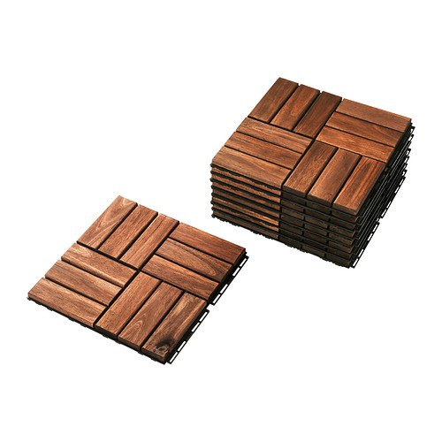 IKEA Outdoor Deck and Patio Interlocking Flooring Tiles (Brown-Stained) - Terrace Floor Tile