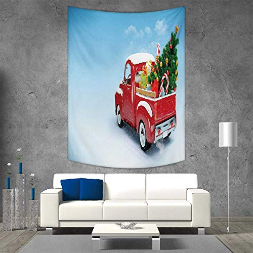 smallbeefly Christmas Tapestry Table Cover Bedspread Beach Towel Red Classical Pickup Truck with Tree Gifts and Ornaments Snowy Winter Day Image Dorm Decor Beach Blanket 57W x 74L INCH Blue Red