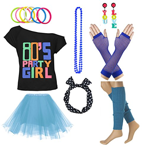 Xianhan 1980s Outfit 80's Party Girl Retro Costume Accessories Outfit Dress for 1980s Theme Party Supplies (L/XL, Sky Blue) -