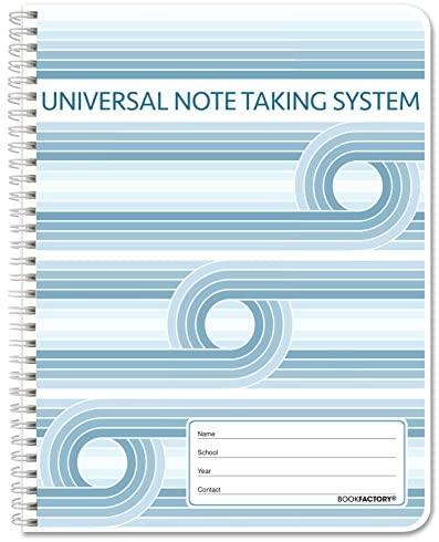 """BookFactory Universal Note Taking System (Cornell Notes) / NoteTaking Notebook - 120 Pages, 8 1/2"""" x 11"""" - Wire-O (LOG-120-7CW-A(Universal-Note))"""