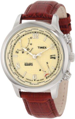 Retrograde Series - Timex Men's T2N611 Intelligent Quartz Traveller Series World Time Brown Leather Strap Watch
