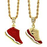 Mens 14k Gold Plated Hip Hop Retro 11 Gym Red,Cool Grey,concord,cherry 2each pendant only 8pcs lot