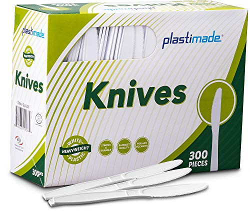 (Plastimade Extra Heavyweight White Plastic Disposable Knives. 300 Pack)