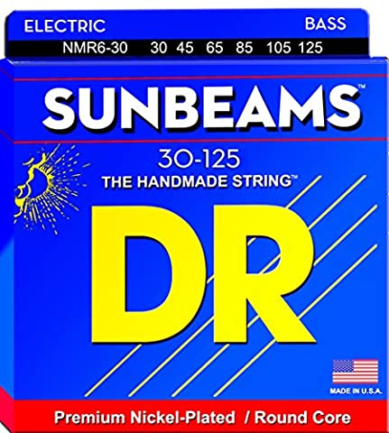DR Strings Sunbeam - Nickel Plated Round Core 6 String Bass 30-125 (Dr Bass Guitar Strings For 6)