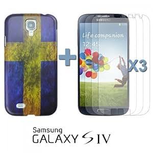 OnlineBestDigital - Vintage National Flag Hard Back Case for Samsung Galaxy S4 IV I9500 / I9505 - Sweden with 3 Screen Protectors