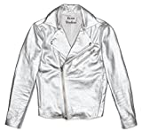 Acne Studios Gibson Metallic Silver Pebbled Leather Moto Jacket (48 IT/Medium)