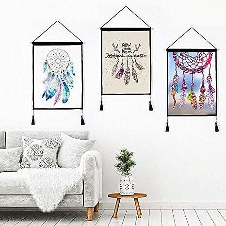 indien dAm/érique Never Stop Dreaming Wall Scroll Tenture murale Photo avec deux pompons Patteren D/écor pour chambre /à coucher salle de s/éjour Home Decor 6