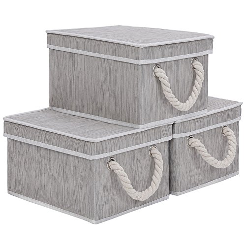 JS HOME Foldable Basket Organizer Bin, Polyester Storage Box with Strong Cotton Rope Handle and Lid, Grey, Jumbo, 3-Pack