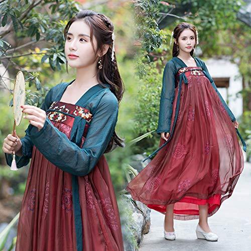 WHFDHF Dress Hanfu Dagelijks Vrouwen Geborduurde Paar Borst Rok Han Element Student Klasse Kleding Pak Show Fotografie -