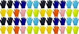 48 Pairs Kids Winter Magic Gloves, Warm, Cute, Fun, Colorful, Stretchy Wholesale for Boys or Girls, Toddlers Children (Assorted Solids)
