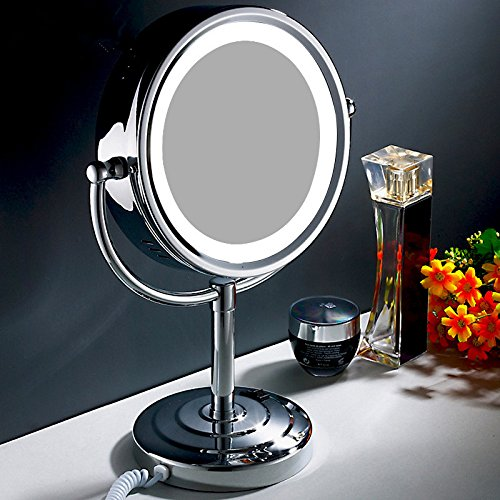 Cosmetic mirror desk-bathroom mirror rotate the toilet 3 times mirror silver double sided magnification mirror mirror mirror wall mount makeup mirror Chrome LED white light