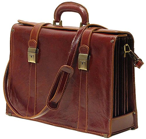 Floto Trastevere Brief, Leather Laptop Briefcase in Vecchio Brown (Brown Computer Brief)
