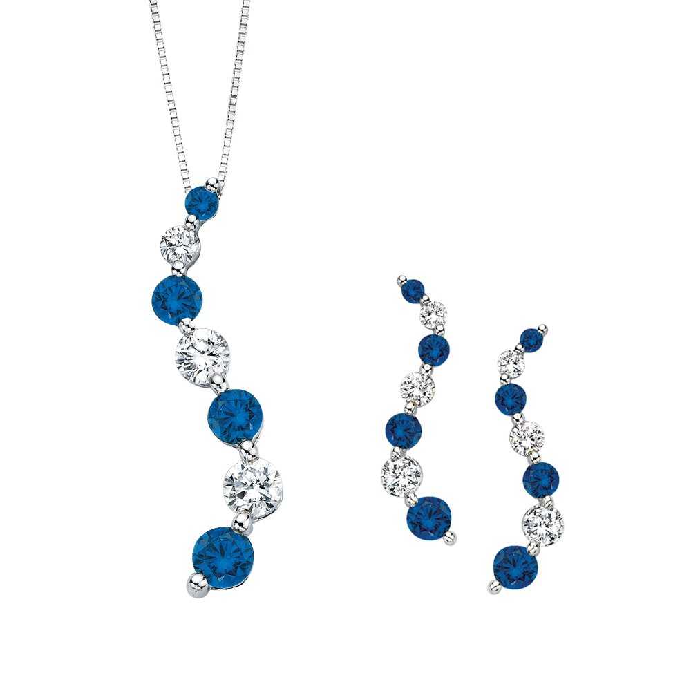 Blue and White Alternating Diamond ''Journey of Love'' Curve Jewelry Set in 14K White Gold (3/4 cttw)