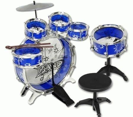 51dPodovWVL - 11pc Kids Boy Girl Drum Set Musical Instrument Toy Playset BLUE