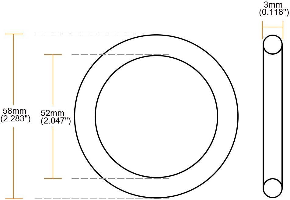 58mm OD 52mm ID 3mm Width Pack of 10 Metric Buna-N Sealing Gasket uxcell Nitrile Rubber O-Rings