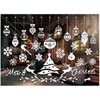 Honch Christmas Window Clings Window Stickers Christmas Window Decorations Snowman Snowflake Santa Claus Reindeer Elk Static Stickers for Glass Windows (N)