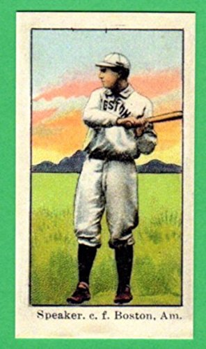 Tris Speaker 1910 American Caramel Baseball Reprint Card with Original Back and Size (Red - Diego Tri San Club