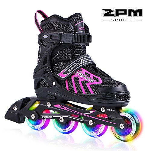 (2PM SPORTS Brice Pink Adjustable Illuminating Inline Skates with Full Light Up Wheels, Fun Flashing Roller Skates for Girls - Pink)