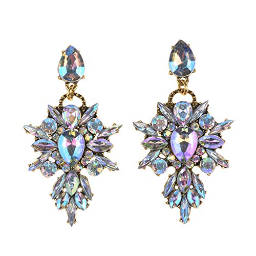 Women Earings Vintage Gold Plating Glass Pendant Drop Earrings Gem Statement Earring Jewelry Women Ab - Online Outlet And Co Tiffany
