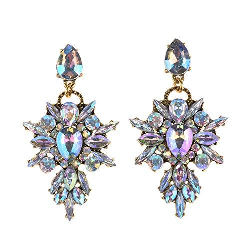 Women Earings Vintage Gold Plating Glass Pendant Drop Earrings Gem Statement Earring Jewelry Women Ab - Shopping & Tiffany Online Co