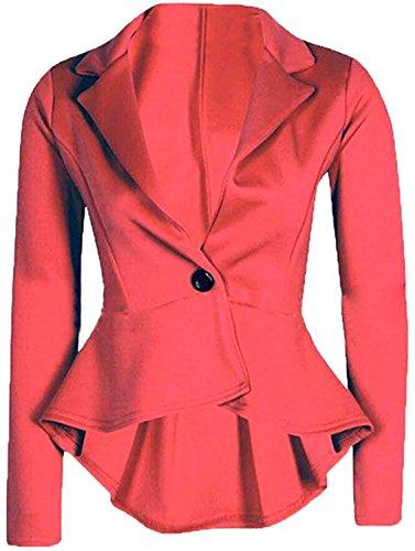 Fordbox Fashionable Women's One Button Long Sleeve Short Suit Blazer Outwear Wine RedUS Small
