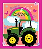 John Deere 65601-A62C831 Peace, Love and Tractors Panel No Sew Fleece Throw Kit, Multi