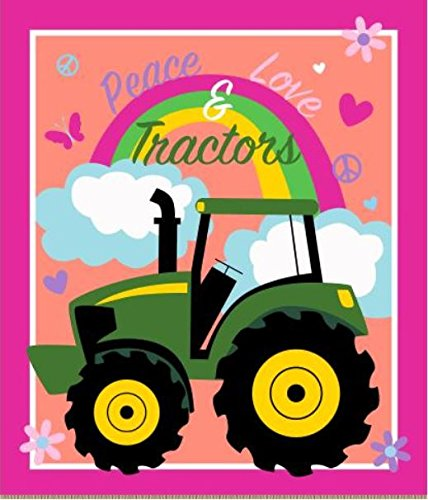 - John Deere 65601-A62C831 Peace, Love and Tractors Panel No Sew Fleece Throw Kit, Multi