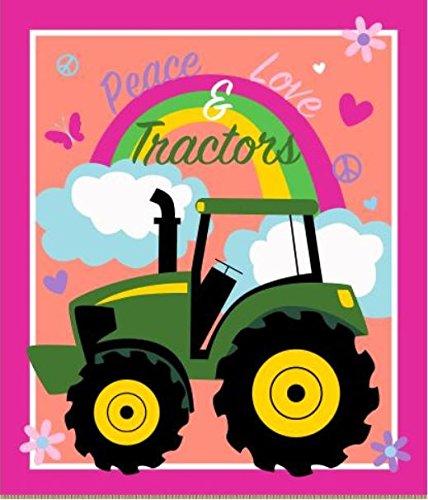 John Deere 65601-A62C831 Peace, Love and Tractors Panel No Sew Fleece Throw Kit, Multi ()