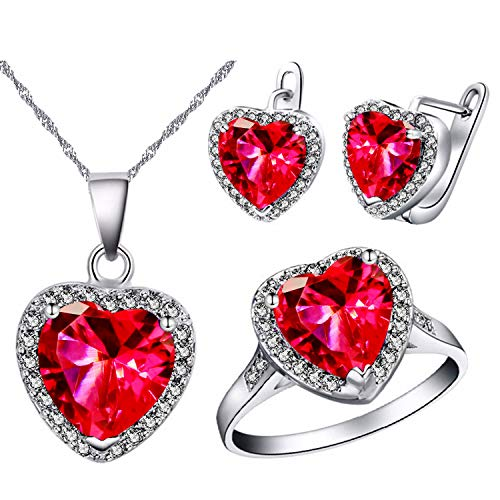 (Uloveido Girls' Platinum Plated Brass Red Stone Simulated Diamond Jewelry Piercing Earrings Necklace and Solitaire Rings Set for Teen Girls Women T481)