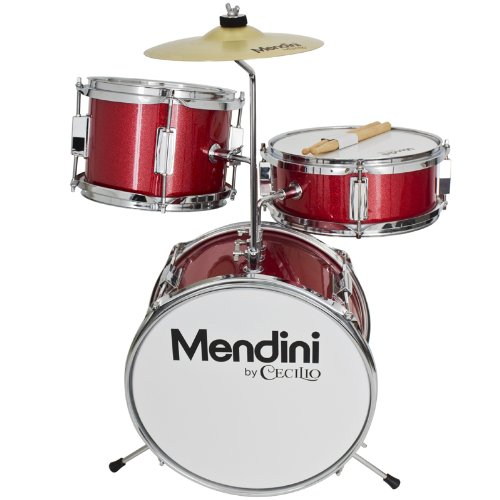 Review Mendini by Cecilio 13 Inch 3-Piece Kids / Junior Drum Set with Adjustable Throne, Cymbal, Pedal & Drumsticks, Metallic Bright Red, MJDS-1-BR