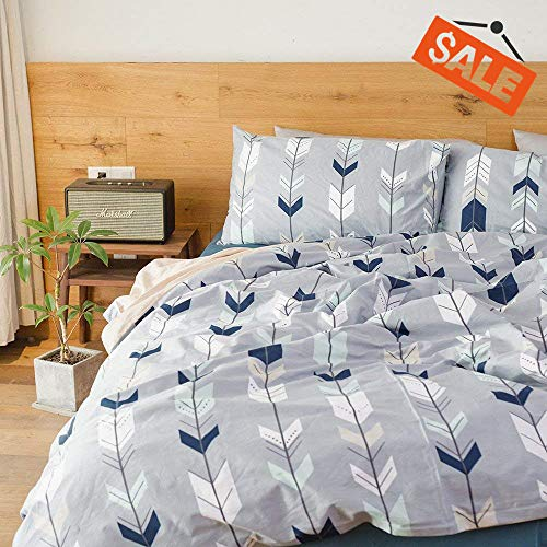VClife Cotton Bedding Sets Arrow Twin Duvet Cover for Boys Girls Teens Adults, reversible Geometric Herringbone type Comforter Quilt Cover Sets Kids 3 PCS Bedding Collections
